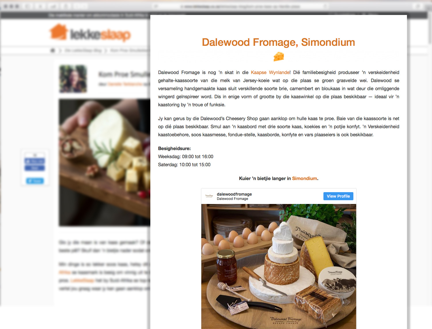 Lekkeslaap Kase features Dalewood Fromage